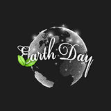 Earth Day background with the words, world globe and green leaves. Vector illustration Stock Photography
