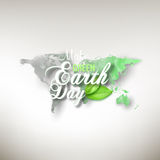 Earth Day background with the words, world map and green leaves. Watercolor design vector illustration Royalty Free Stock Photos