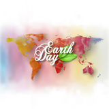 Earth Day background with the words, world map and green leaves. Watercolor design vector illustration Royalty Free Stock Photography