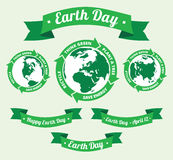Earth day badge and retro style banner Royalty Free Stock Photo