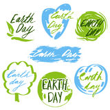 Earth day. Badges and labels with hand drawn lettering. Vector illustration royalty free illustration