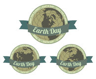 Earth day badget - Save the planet. Set of globes with Earth day written inside old style banner and Save the planet slogan around. EPS8 illustration royalty free illustration