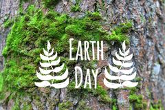 Earth day banner decorated hand drawn leave on the green moss tree bark background. Earth day card decorated hand drawn leave on the green moss tree bark Royalty Free Stock Photo
