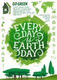 Earth Day banner with ecology protection icon Stock Image