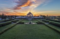 Earth Day on Belle Isle. The Anna Scripps Whitcomb Conservatory on Belle Isle in Detroit, Michigan at dawn on Earth Day, 2017 stock images