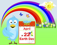 Earth Day. Blue Bird. Earth Day. Blue Bird with icon a calendar with flowers and ladybird against rainbow with butterflies. Vector illustration Stock Illustration