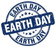 Earth day blue stamp. Earth day blue grunge round stamp isolated on white background stock illustration
