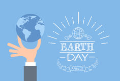 Earth Day Business Man Hand Hold Globe Stock Photos
