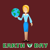 Earth Day Business Woman Hold Globe April Holiday Royalty Free Stock Images