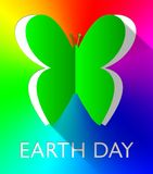 Earth Day Butterfly Shows Eco Friendly 3d Illustration. Earth Day Butterfly Cutout Shows Eco Friendly 3d Illustration stock illustration