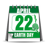 Earth Day calendar. Earth Day date. 22 April Stock Images