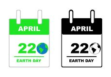 Earth day calendar. Isolated on white Stock Photo