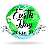 Earth Day calligraphy on watercolor background Royalty Free Stock Photos