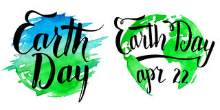 Earth Day calligraphy on watercolor background Stock Photo