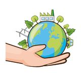 Earth day card. Hand with planet energy ecology earth day card vector illustration vector illustration