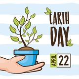 Earth day card. Hands holding potted plant earth day card vector illustration stock illustration