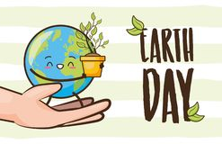 Earth day card. Hands with planet character plant earth day vector illustration stock illustration