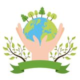Earth day card. Hands with planet forest ecology emblem earth day vector illustration vector illustration