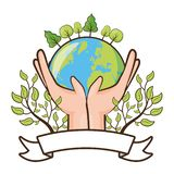 Earth day card. Hands with planet forest ecology emblem earth day vector illustration stock illustration