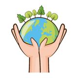 Earth day card. Hands with planet forest earth day card vector illustration vector illustration