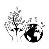 Earth day card. Hands with plant planet earth day vector illustration vector illustration
