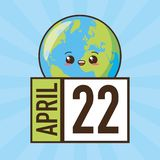 Earth day card. Kawaii planet calendar earth day card vector illustration stock illustration
