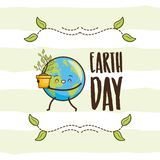 Earth day card. Kawaii planet with plant earth day card vector illustration vector illustration