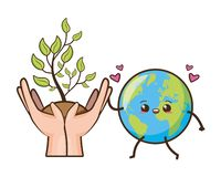 Earth day card. Kawaii planet and plant in hands earth day vector illustration royalty free illustration
