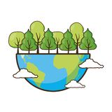 Earth day card. Planet forest ecology earth day card vector illustration royalty free illustration