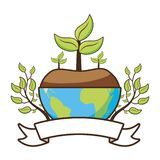 Earth day card. Planet plant leaves emblem earth day card vector illustration royalty free illustration