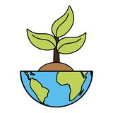Earth day card. Planet with plant earth day card vector illustration stock illustration