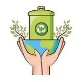 Earth day card. Planet recycle trash can ecology earth day vector illustration royalty free illustration