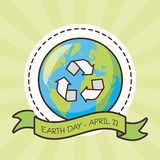 Earth day card. Recycle planet sticker earth day card vector illustration stock illustration