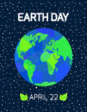 Earth Day card. Earth Day card with Earth in space. Vector illustration royalty free illustration