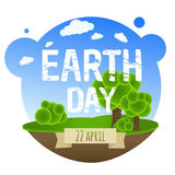 Earth Day Card With Trees. Vector Illustration Royalty Free Stock Images
