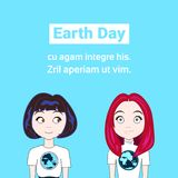 Earth Day Card, Two Young Girl Wearing T-Shirts With Globe Image Planet Protection Concept Royalty Free Stock Image