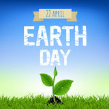 Earth Day Card With Young Plant. With Gradient Mesh, Vector Illustration Royalty Free Stock Photo