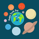 Earth Day. Caricature funny  illustration of the earth on Royalty Free Stock Images