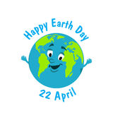 Earth Day. Caricature funny  illustration of the earth on Royalty Free Stock Image