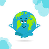 Earth Day. Caricature funny  illustration of the earth on Royalty Free Stock Photo
