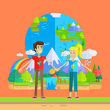 Earth Day Celebrating Concept Vector Illustration. Stock Photography