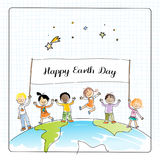 Earth day children. Earth day, globe illustration vector concept, with kids. April 22 world environment background, poster. Children standing together on planet Stock Image