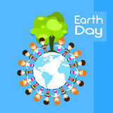 Earth Day Children Group Stand Around Globe Royalty Free Stock Images