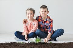 Earth day and children in the room Royalty Free Stock Image