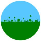 Earth Day - circle. Sky and grass Royalty Free Stock Photos