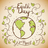 Earth Day Commemorative Design in Doodle Style, Vector Illustration Stock Photography