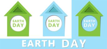 Earth day concept. 22 April. Paper cut design with green and blue houses. The Earth is our home. Blue planet stock illustration