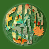 Earth Day concept with earth inspired letters. Earth Day environmental concept with textured letters in bright colors of orange green and yellow with leaf and stock illustration