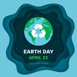 Earth Day concept. Earth planet in Space. Night sky background with stars and Earth globe with recycle sign. Eco symbol with recycle arrows. Paper and craft Royalty Free Stock Image