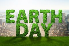 The earth day concept with green letters Royalty Free Stock Photos